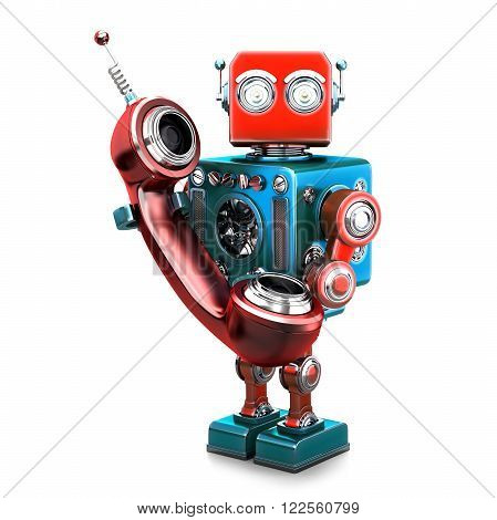 Retro robot with phone tube. Isolated over white. Contains clipping path