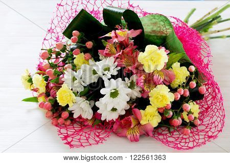 Beautiful Bouquet Of Colorful Flowers, White Chrysanthemums And Yellow Carnation.