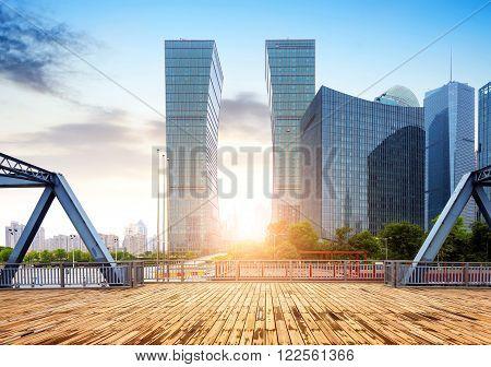 Shanghai China skyscrapers and old iron bridge.