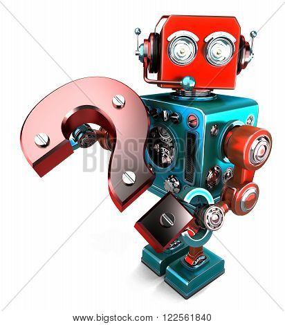 3D robot with question mark. Isolated on white. Contains clipping path