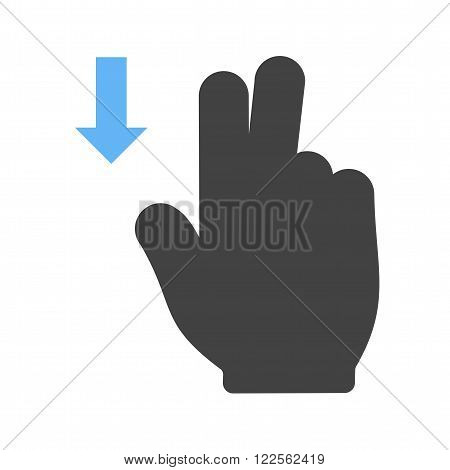 Touch, fingers, down icon vector image.Can also be used for user touch gestures. Suitable for mobile apps, web apps and print media.