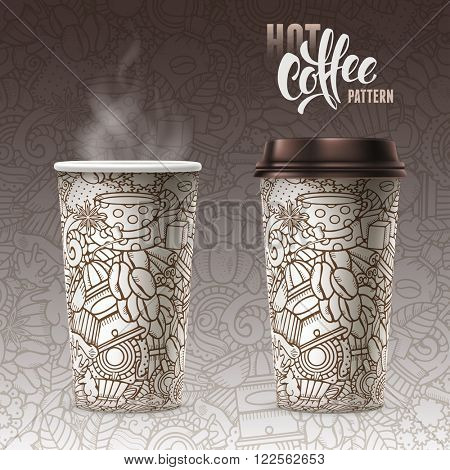 Set of Disposable Paper Cups with Plastic Covers and Sleeve to Take-out. Open and Closed Paper Cup. Beautiful Seamless Pattern on Paper Cups and on Background. Realistic Vector Illustration.