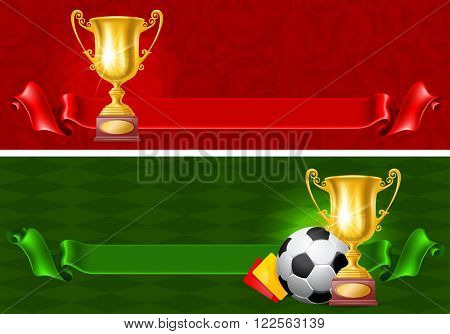 Realistic Golden Trophy Cup. Winner Cup. Banners set. There is a Place For Your Text. Vector Illustration