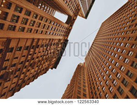 Office buildings of Manhattan, New York City - look up.
