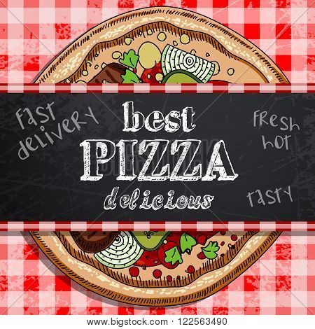 promotional image of pizza on a plaid background to be used in a pizzeria