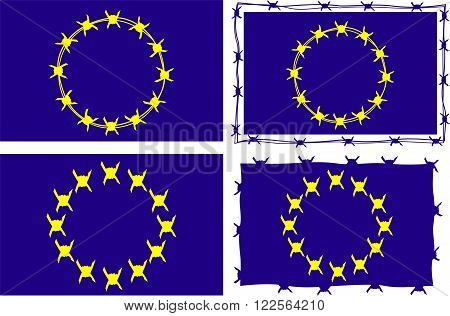 european union flag surrounded by barbed wire border
