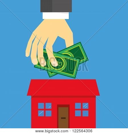 A hand holding money above a stylized house as a concept for property investment or securing a mortgage