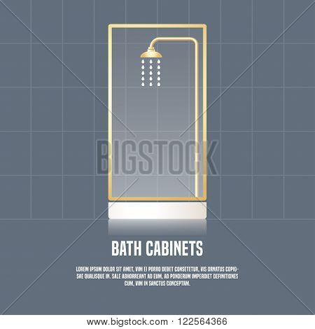 Vector template illustration of bath cabinet made in clean and eyecatching style. Bath related products store concept illustration. Design element logotype for a shop product or company