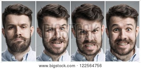 Set of young man's portraits with angry emotions on gray background