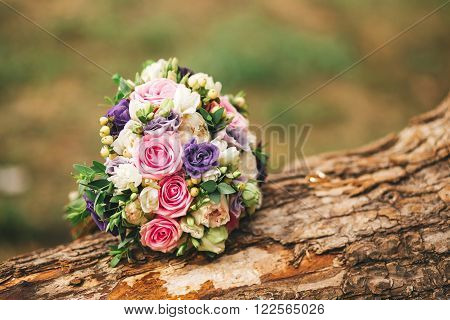 Roses, peonies and mix of summer flowers bouquet for the wedding in Europe