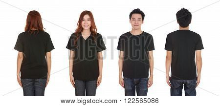 man and woman with blank t-shirt isolated on white background
