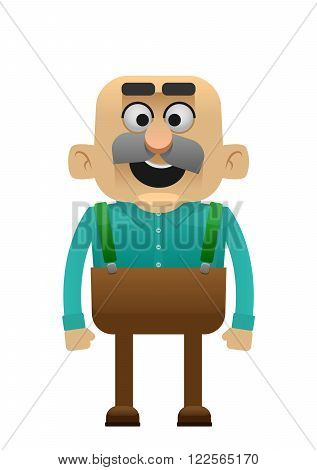Vector grandfather flat illustration men old fun