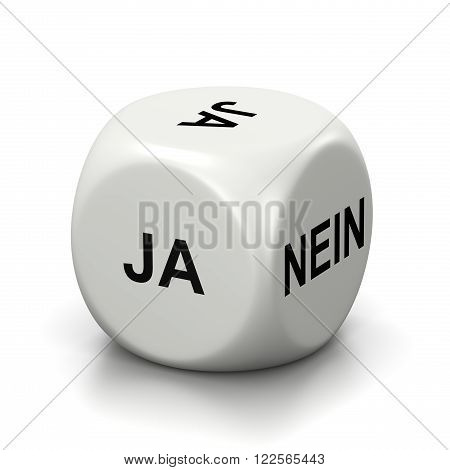 One Single White Dice with Yes or No German Text on Faces on White Background 3D Illustration
