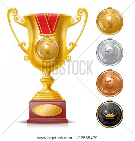 Realistic Golden Trophy Cup Set Isolated on White Background with Golden Medal. Winner Cup. Winner Concept.  Golden, Silver and Bronze Medals. There is a Place For Your Text. Vector Illustration.