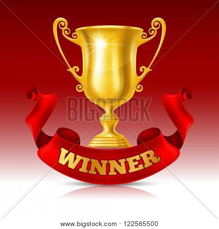 Realistic Golden Trophy Cup on Red Background with Red Ribbon. Winner Cup. There is a Place For Your Text. Vector Illustration