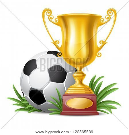 Realistic Golden Trophy Cup and Soccer Ball on Green Grass. Isolated on White Background. Winner Cup. Vector Illustration