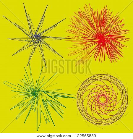 Set four colored abstract of stylized effects