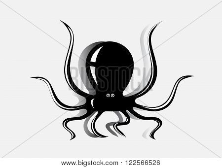 logo octopus. A silhouette of a black octopus on a gray background