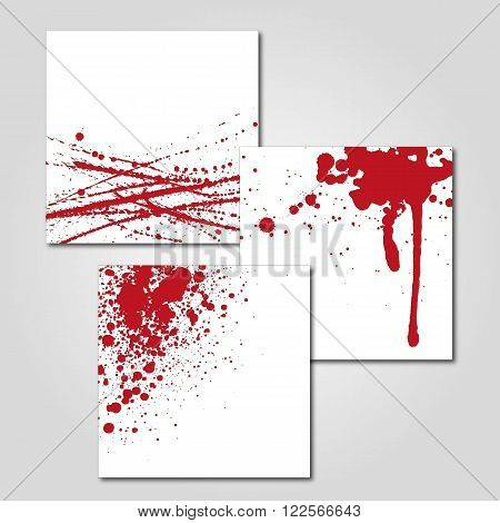 a set of three abstract illustrations of sprayed blood