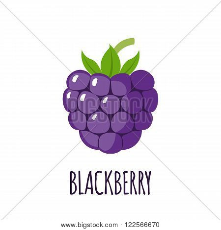 Blackberry fruit in flat style. Blackberry fruit vector logo. Blackberry fruit icon. Isolated object. Natural food. Vector illustration. Blackberry fruit on white background