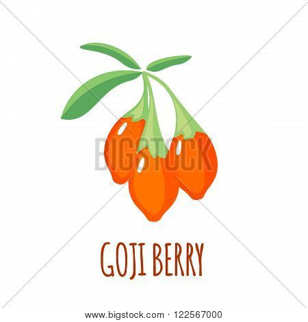 Goji berry in flat style. Goji berry vector logo. Goji berry icon. Isolated object. Natural food. Vector illustration. Goji berry on white background