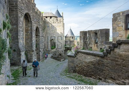 CARCASSONNE FRANCE - MAY 05 2015: Medieval castle and city of Carcassonne Languedoc-Roussillon France