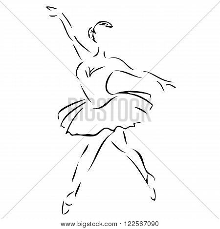 an abstract silhouette of a ballet dancing ballerina
