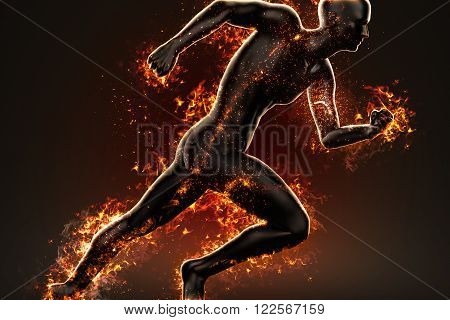 Flaming Fire runner. Sport concept, 3d illustration