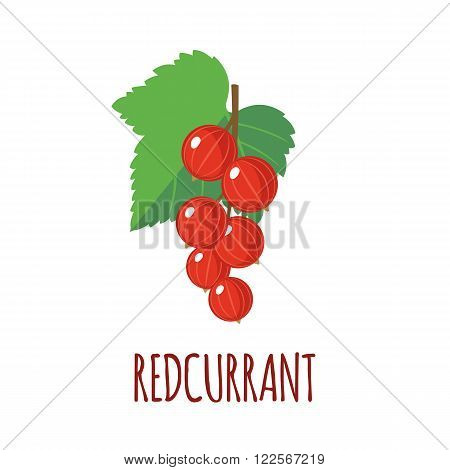 Redcurrant in flat style. Isolated object.Vector illustration.