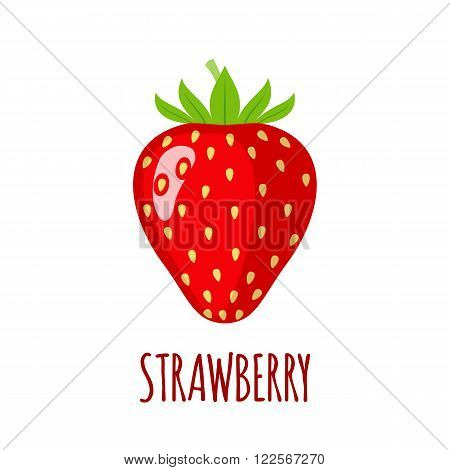 Strawberry in flat style. Isolated object. Vector illustration.