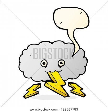 cartoon thundercloud with speech bubble