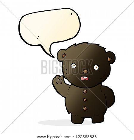 cartoon unhappy black teddy bear with speech bubble