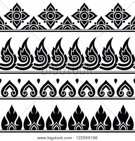 Seamless Thai pattern, repetitive design from Thailand - folk art style