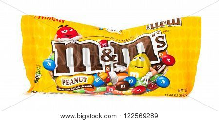 Winneconne WI - 4 February 2015: Package of Peanut M&M's chocolate. M&M's are sold to over 100 countries worldwide.