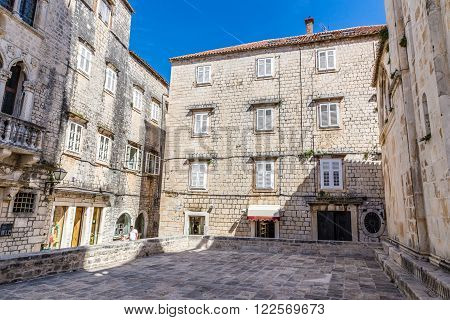 Traditional Old Building With White Window Shutter - Trogir Dalmatia Croatia Europe