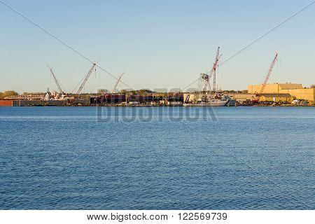 Sturgeon Bay, WI - 25 Oct 2015: Shot of Fincantieri Bay Shipbuilding that has been building vessels since 1918.