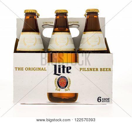 Winneconne, WI -14 Oct 2015: Six pack of Miller Lite beer in new design.