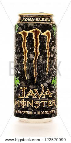 Winneconne WI - 12 August 2015: Can of Java Monster coffe enery drink in kona blend flavor.