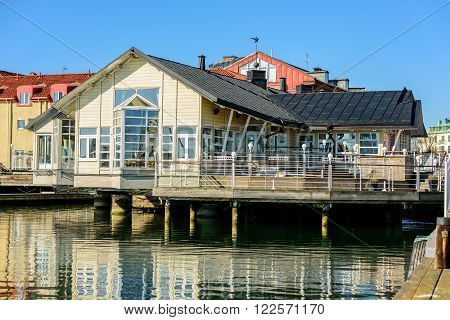 Kalmar Sweden - March 17 2016: Hamnkrogen the local harbor tavern down by the docks. Here seen off season on a calm morning with no people. Highest ranking in Kalmar by White guide 2014.