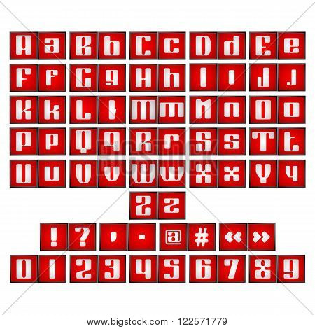 Vector illustration of the alphabet grammar signs and figures on the red glowing frame. All objects are separate and isolated on white background.