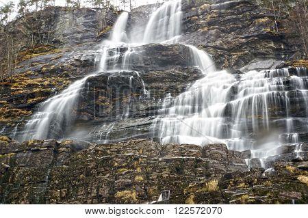 Norwegian waterfall in spring. May 05, 2013