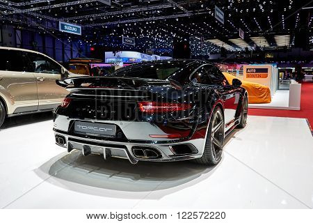 Geneva, Switzerland - March 1, 2016: 2016 Porsche 991 Turbo S Stinger GTR by TopCar presented on the 86th Geneva Motor Show in the PalExpo