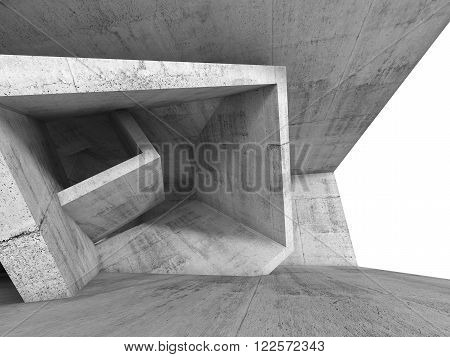 Concrete Room Interior With 3D Cubic Structure