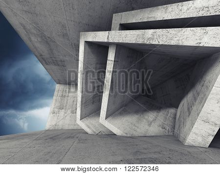 Concrete Room 3D Interior With Cubic Structures