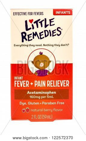 Winneconne WI -1 Oct 2015: Box of Little Remedies fever and pain reliever for infants.