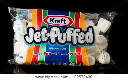Winneconne WI - 20 February 2015: Bag of Kraft Jet-Puffed Marshmallows.