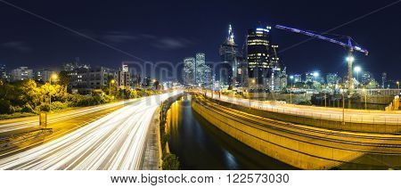 Panorama Of Tel Aviv City And Ayalon Freeway At Night - View of Tel Aviv at night.