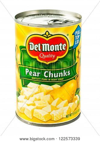 Winneconne WI - 5 February 2015: Del Monte Pear Chunks in a can. Del Monte was created in 1886 and is located in San .