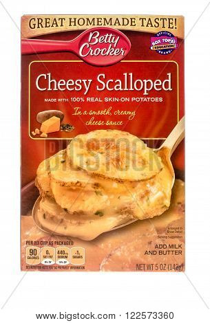 Winneconne WI - 26 Nov 2015: Box of cheesy scalloped potatoes made by Betty Crocker