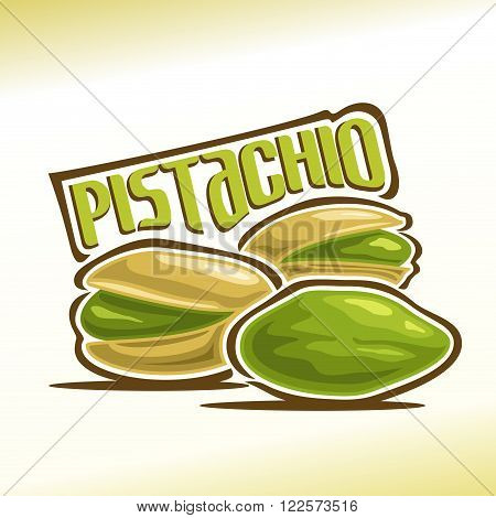 Vector illustration on the theme of the logo for pistachio nuts, consisting of three nutlets, one of which peeled and the other two in the shell cracked